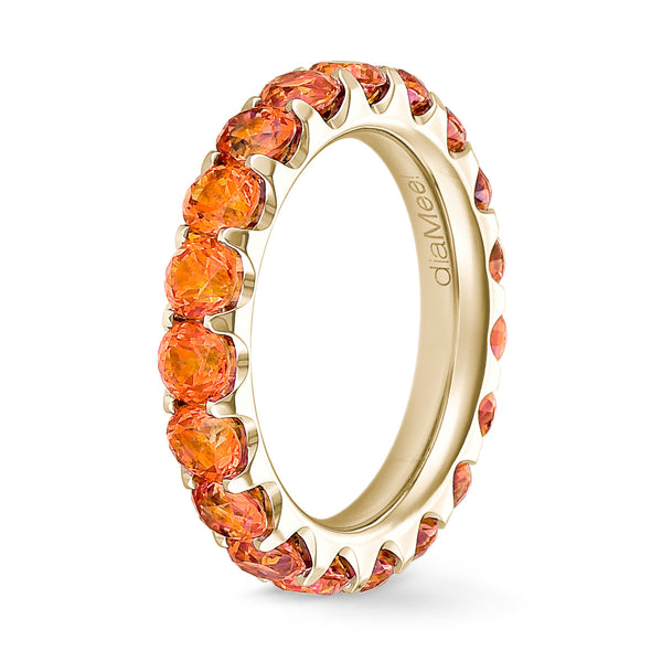 Bague Topaze orange Serti 2 griffes - Tour complet 3.5 mm / 3 carats