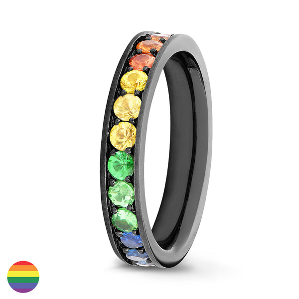 Bague Saphirs Rainbow Serti 4 grains-rails - Tour complet 2.5 mm / 1.5 carat