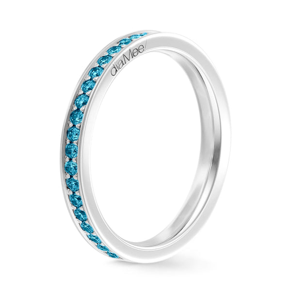Bague Diamants bleu Azur Serti 4 grains-rails - Tour complet 1.5 mm / 0,50 carat