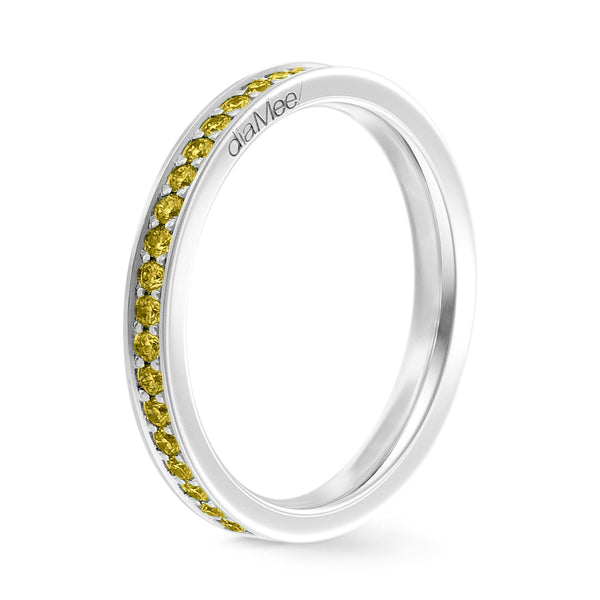 Bague Diamants jaunes Serti 4 grains-rails - Tour complet 1.5 mm / 0,50 carat