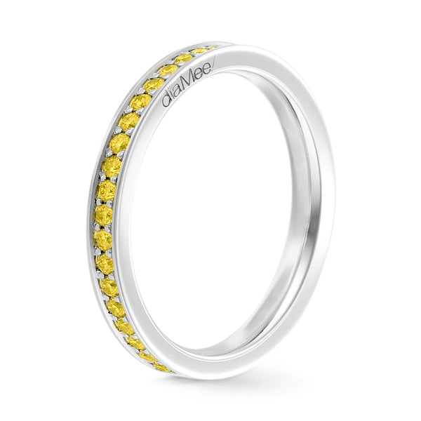 Bague Saphirs jaunes Serti 4 grains-rails - Tour complet 1.5 mm / 0,50 carat