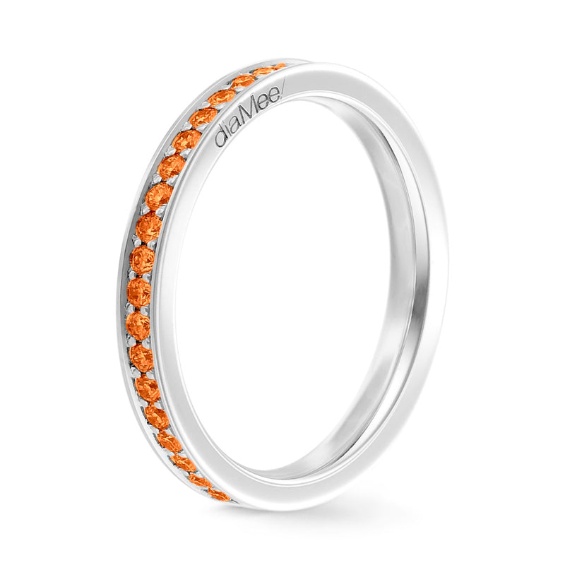 Bague Saphirs oranges Serti 4 grains-rails - Tour complet 1.5 mm / 0,50 carat