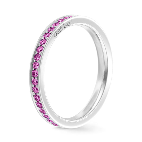 Bague Saphirs roses Serti 4 grains-rails - Tour complet 1.5 mm / 0,50 carat