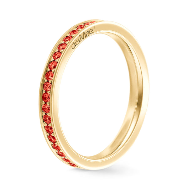 Bague Saphirs rouges Serti 4 grains-rails - Tour complet 1.5 mm / 0,50 carat