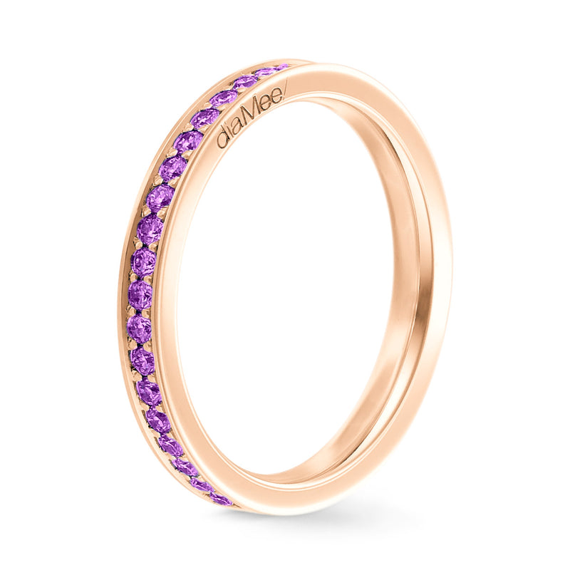 Bague Saphirs violets Serti 4 grains-rails - Tour complet 1.5 mm / 0,50 carat