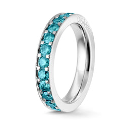 Bague Diamants bleu Azur Serti 4 grains-rails - Tour complet 2.5 mm / 1.5 carat