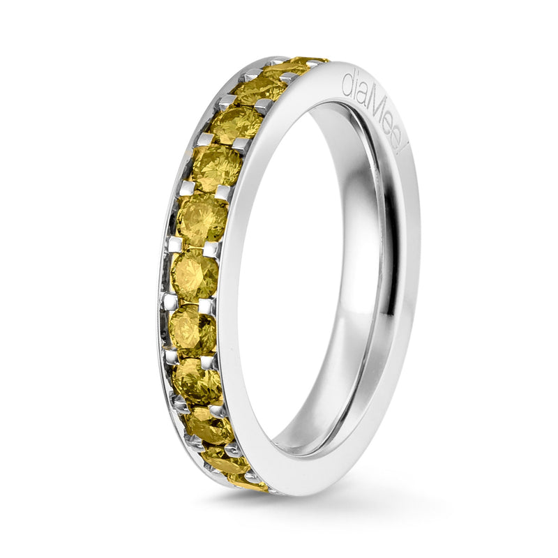 Bague Diamants jaunes Serti 4 grains-rails - Tour complet 2.5 mm / 1.5 carat