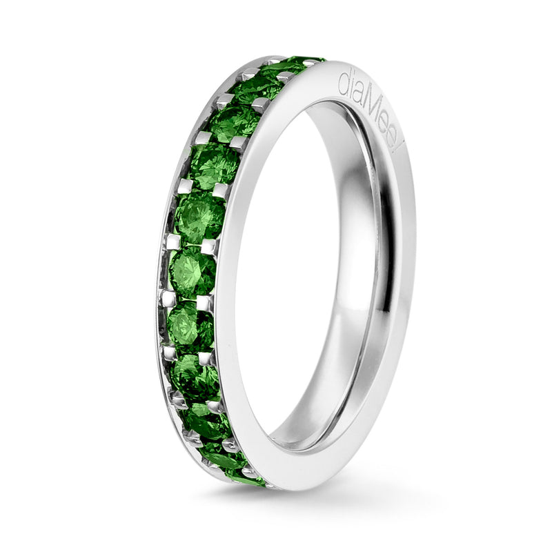 Bague Diamants Green Forest Serti 4 grains-rails - Tour complet 2.5 mm / 1.5 carat