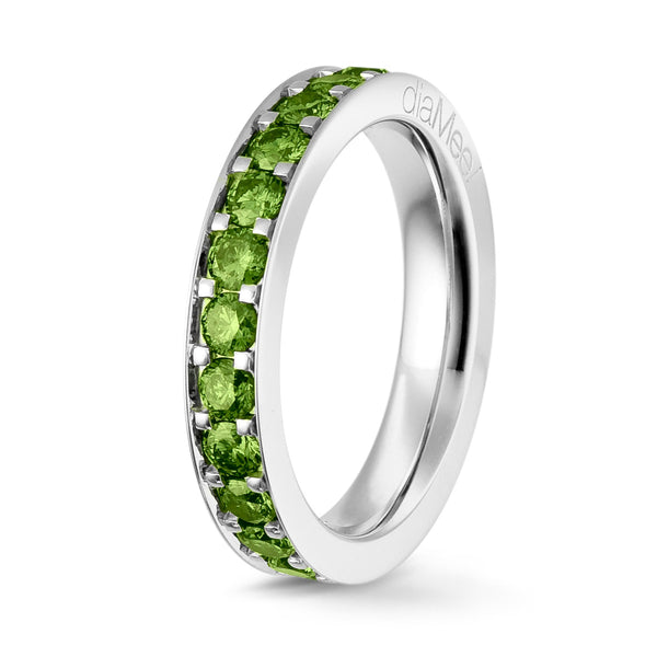 Bague Diamants Apple Green Serti 4 grains-rails - Tour complet 2.5 mm / 1.5 carat