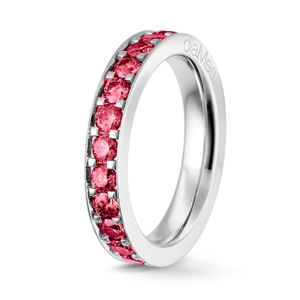 Bague Diamants fuchsia Serti 4 grains-rails - Tour complet 2.5 mm / 1.5 carat