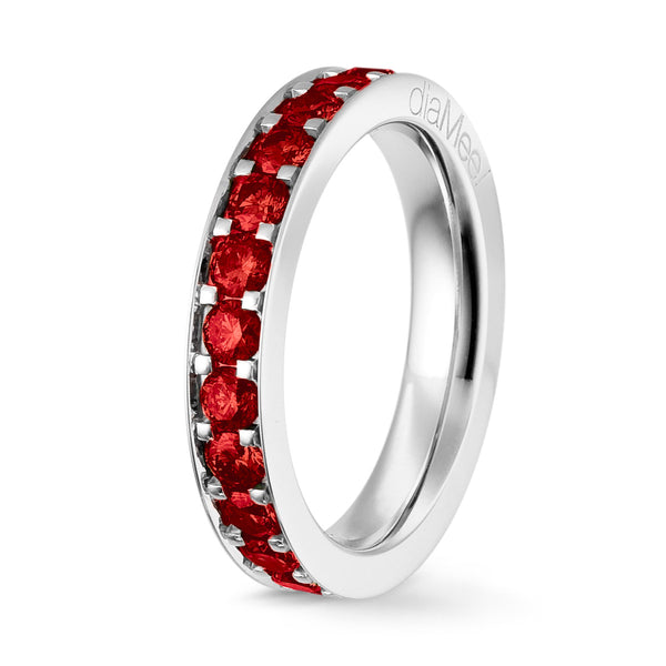 Bague Rubis Serti 4 grains-rails - Tour complet 2.5 mm / 1.5 carat
