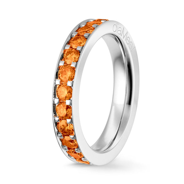 Bague Saphirs oranges Serti 4 grains-rails - Tour complet 2.5 mm / 1.5 carat