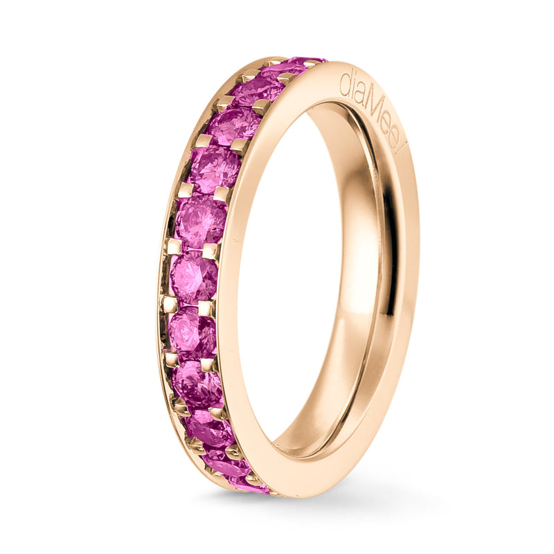 Bague Saphirs roses Serti 4 grains-rails - Tour complet 2.5 mm / 1.5 carat