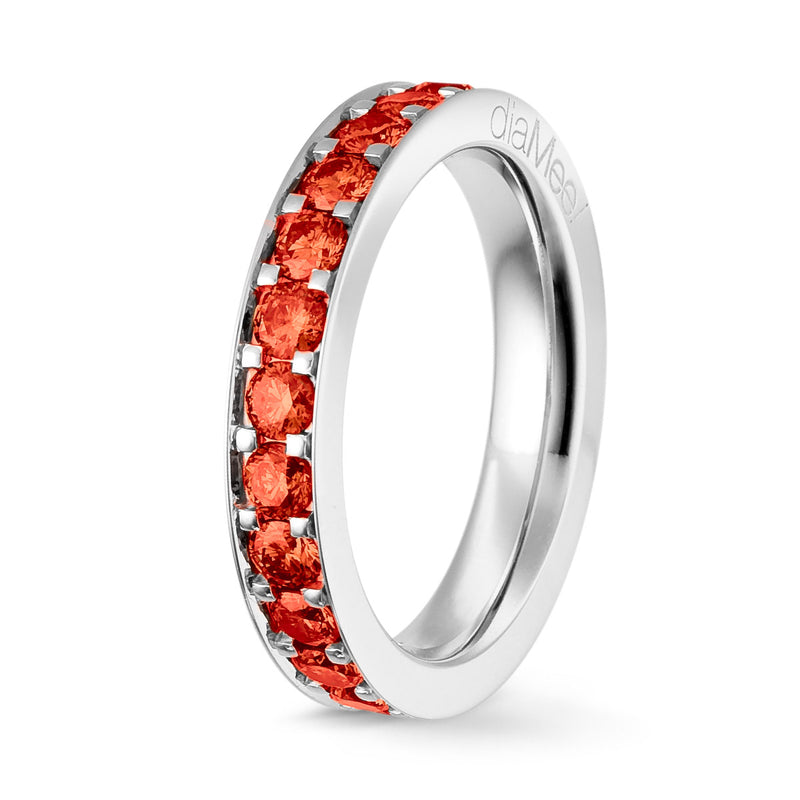 Bague Saphirs rouges Serti 4 grains-rails - Tour complet 2.5 mm / 1.5 carat