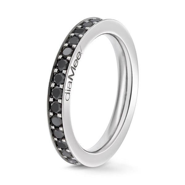 Bague Diamants noirs Serti 4 grains-rails - Tour complet 2.5 mm / 1.5 carat