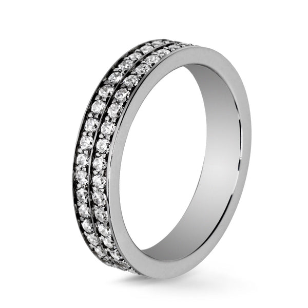 Bague Diamants Lovelines - 2 rangs or noir