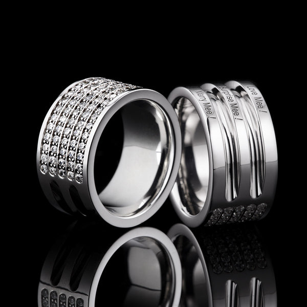 Bague Diamants Lovelines - 3 rangs or noir
