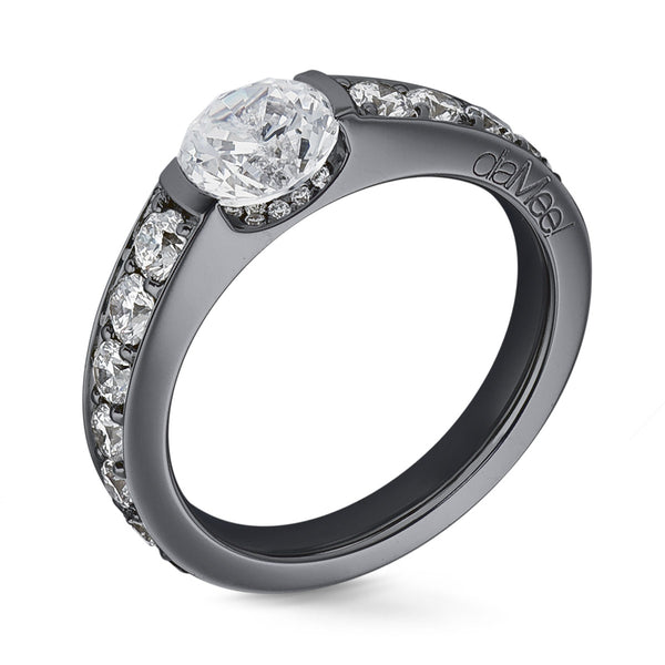 Bague de fiancailles - Or noir - Collection N°02 Pavage diamants blancs