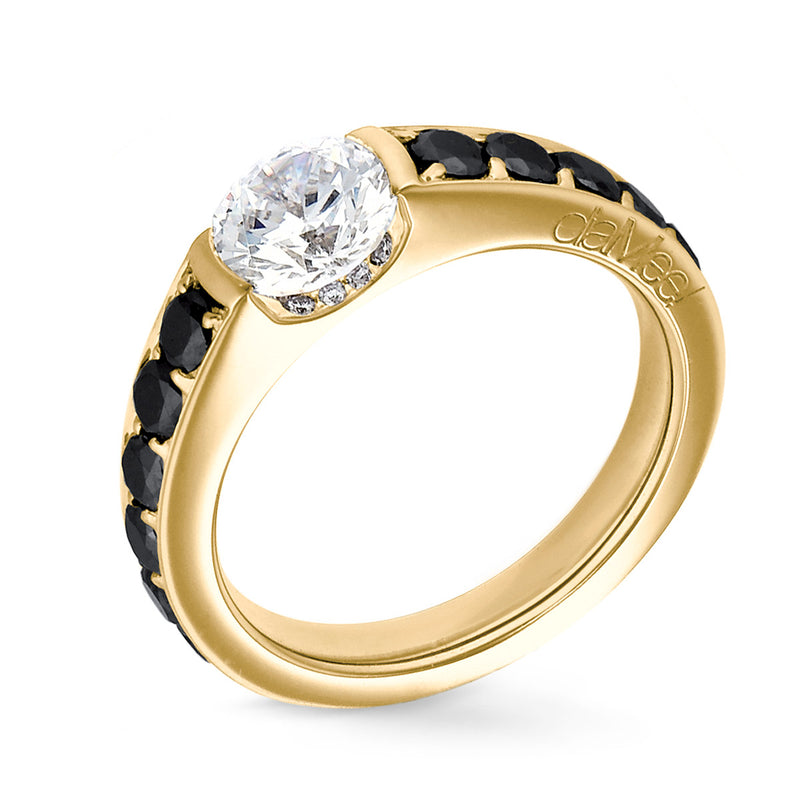 Bague de fiancailles - Collection N°02 Pavage diamants noirs