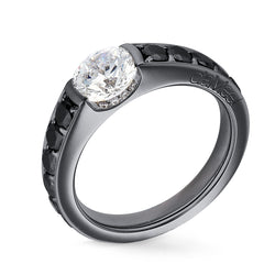 Bague de fiancailles - Or noir - Collection N°02 Pavage diamants noirs