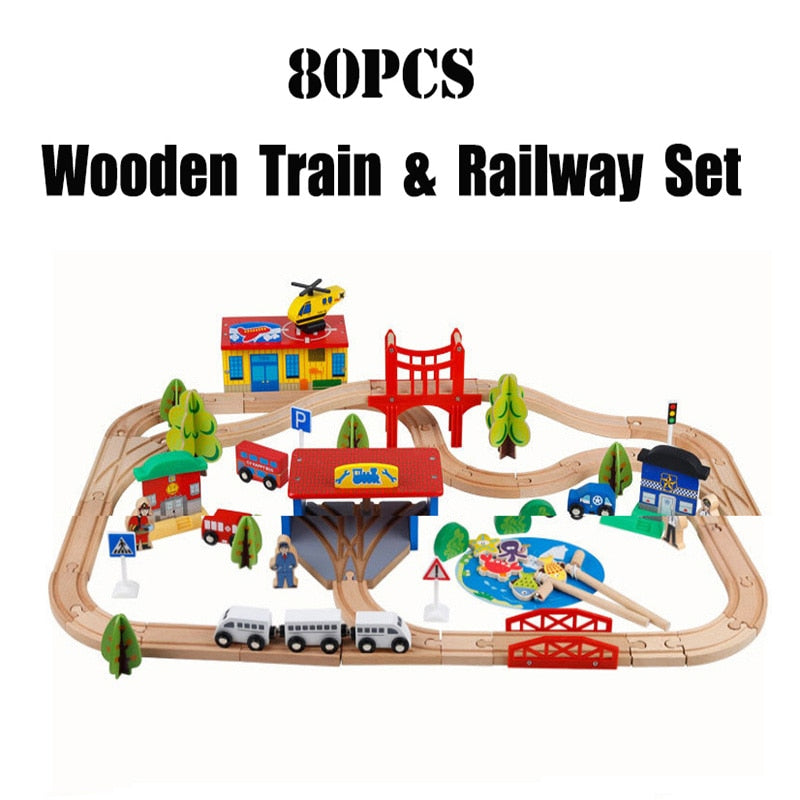 Wooden Diecast Train Track Set Fire Rail Car Set Wooden Track Build Blocks  Magnetic train Educational Toys For Childrens gift