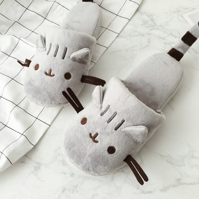 Cute Cat Kitten Plush Cotton Anti-Slip Slippers