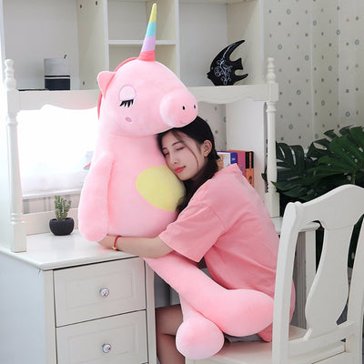 Cute Large Giant Unicorn Rainbow Horn Plush Toy Doll