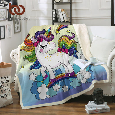 Colorful Rainbow Unicorn Fleece Throw Blanket