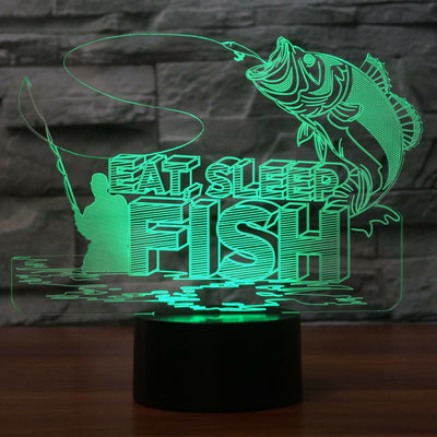 EAT, Sleep, Fish LED Lamp Night Light Fishing Lover Gift