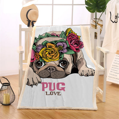 Super Soft Cute Pug Flower Lovers Fleece Blanket