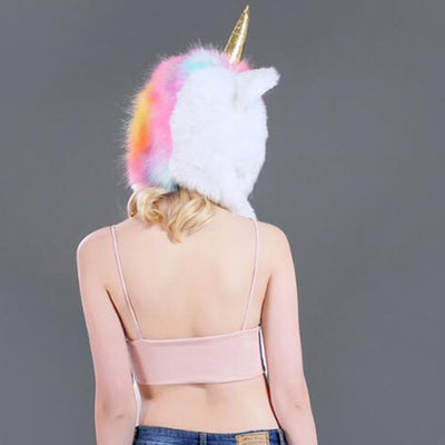 LED Unicorn Faux Fur Long Warm Hat Scarf with Pocket Christmas Gift