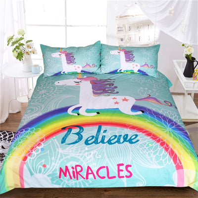 Cartoon Unicorn Believe Miracles Bedding Set Duvet Cover