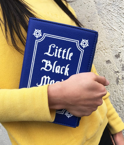 Little Black Magic Book Leather Purse Clutch Bag