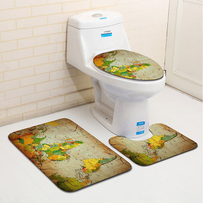 Classic World Map Toilet Mat Seat Bathroom Rug 3 Pcs / Set