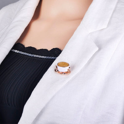 Coffee Cup Spoon Shape Enamel Brooches