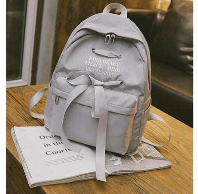 Casual Ribbon School Solid Color Canvas Backpack School Bag For Teenage Girls