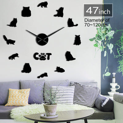 Persian Shirazi Cat Frameless DIY Large Wall Clock Home Decor Gifts