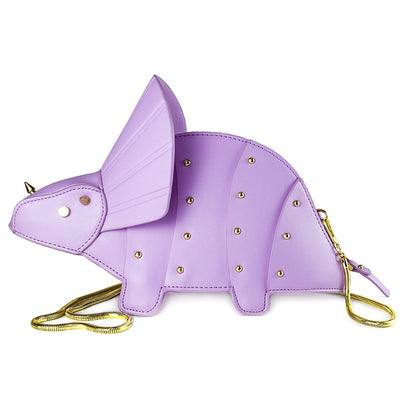 Cute Triceratops Dinosaur Rivets Leather Purse Bag