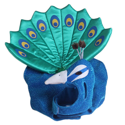 Luxury Blue Peacock Pet Costume Cosplay Dog Cat Dress Jacket Clothes