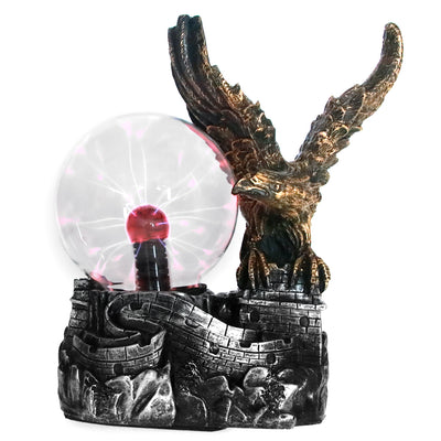 Bald Eagle Wing Guardian Electric Lighting Glass Plasma Ball Lamp