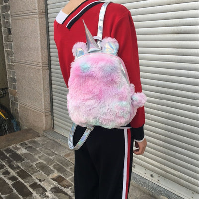 Cute Unicorn Horn Fluffy Fur Backpack