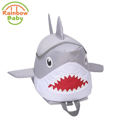 3D Shark Shape Anti-Lost Kids School Bag Backpack