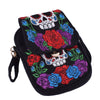 Sugar Skull Roses Embroidered Canvas Handbag Shoulder Bag