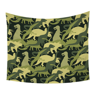Cartoon Dinosaur Jurassic Camouflage Tapestry Wall Hanging