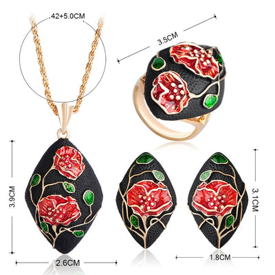 Vintage Red Rose Flower Necklace Earrings Ring Jewelry Sets