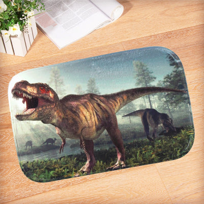Dinosaur Rex Coral Fleece Anti-Slip Doormat Floor Mat Rug
