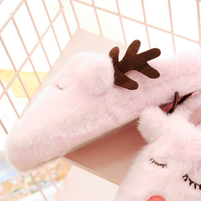 Cute Christmas Reindeer Plush Cotton Anti-Slip HomeSlippers