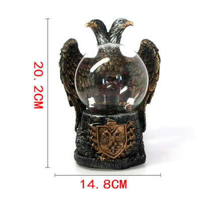 Imperial Twin Eagle Headed Electric Lighting Glass Plasma Ball Lamp