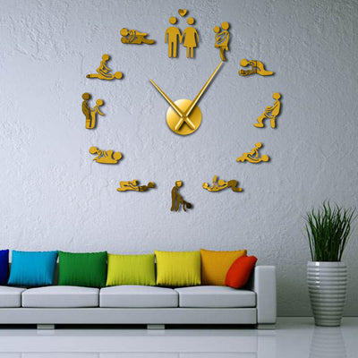 Sexy Kamasutra Sex Love Game Large Frameless D.I.Y. Wall Clock
