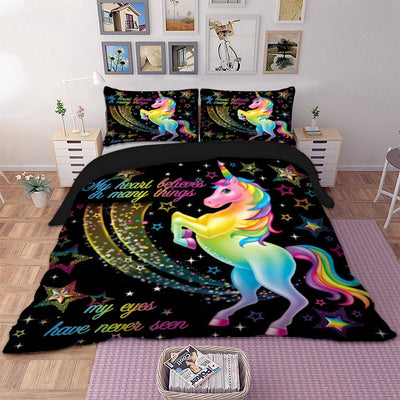 Colorful Miracle Unicorn Horse Fairy Duvet Cover Bedding Set